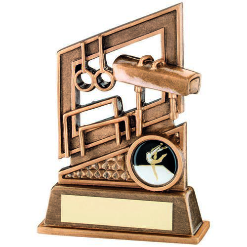 BRZ/GOLD GYMNASTICS DIAMOND SERIES TROPHY - (1in CENTRE) 5.25in