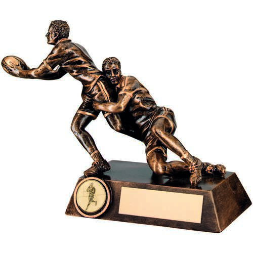 DOUBLE RUGBY 'TACKLE' FIGURE TROPHY - 6.75in