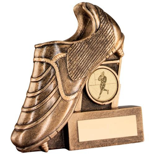 GOLD RESIN RUGBY BOOT & POSTS FLATBACK TROPHY - 3in