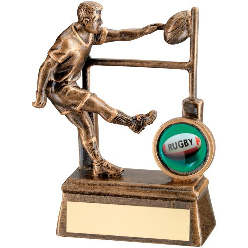 GOLD RESIN RUGBY PLAYER & POSTS TROPHY - 4.25in