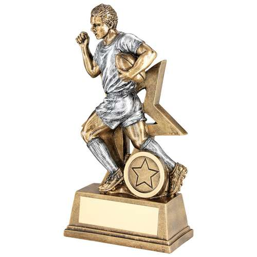 BRZ/PEW MALE RUGBY FIGURE WITH STAR BACKING TROPHY (1in CENTRE)