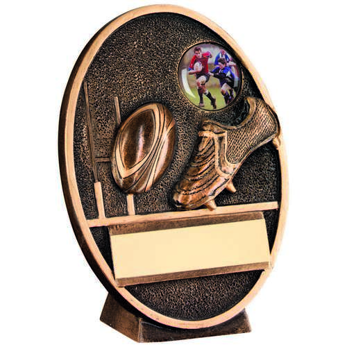 GOLD RUGBY BALL & BOOT OVAL PLAQUE TROPHY - 5.5in