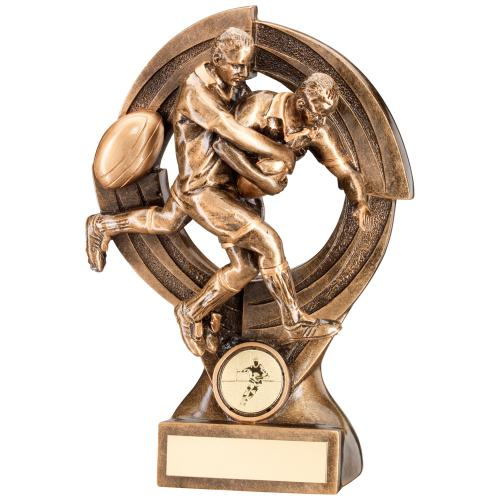 GOLD RUGBY 'QUARTZ' FIGURE TROPHY - 6in