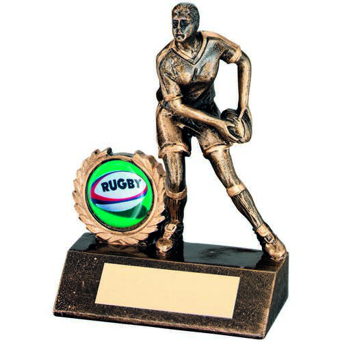 GOLD RESIN MINI FEMALE RUGBY TROPHY - 5.25in