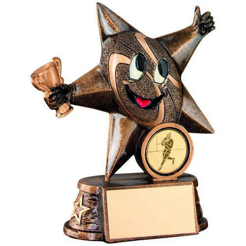 GOLD RESIN RUGBY 'COMIC STAR' FIGURE TROPHY - 4in