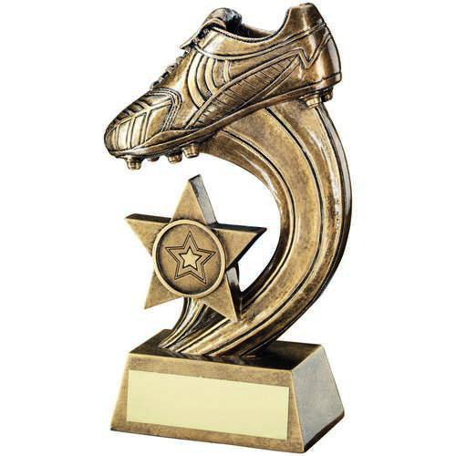 GOLD BOOT ON SWOOSH TROPHY - 8in