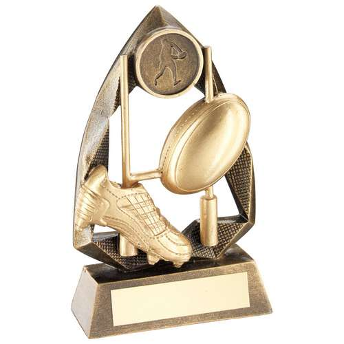 BRZ/GOLD RUGBY DIAMOND COLLECTION TROPHY (1in CENTRE) - 6.5in