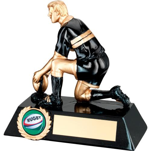 BLACK & GOLD RESIN RUGBY 'KICKER' TROPHY - 5.5in