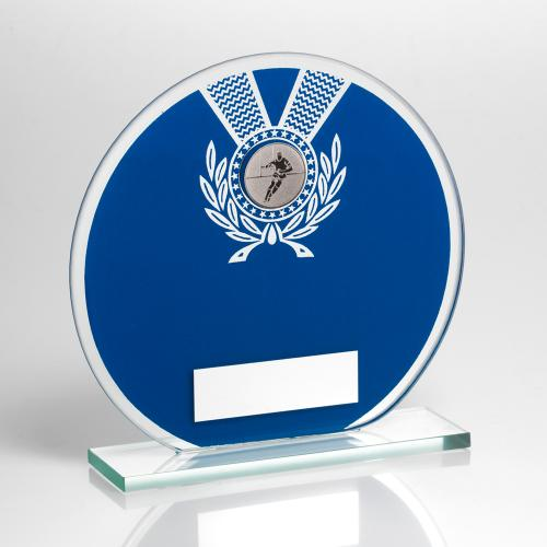 JADE GLASS ROUND PLAQUE BLUE/SILV WITH RUGBY INSERT TROPHY - 6.2