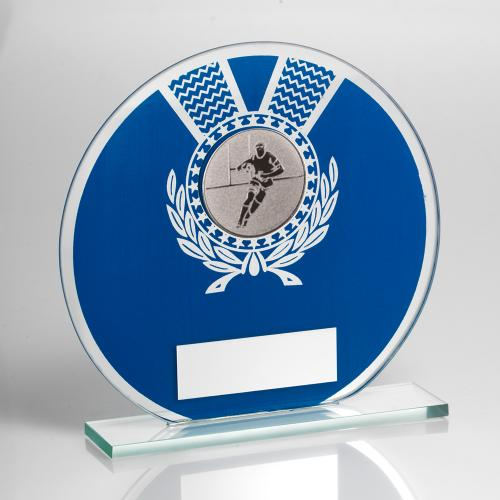JADE GLASS ROUND PLAQUE BLUE/SILV WITH RUGBY INSERT TROPHY - 5.5