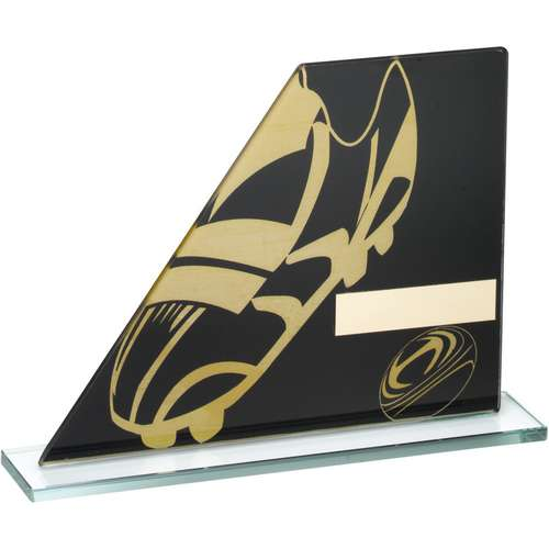 BLACK/GOLD PRINTED GLASS PLAQUE WITH RUGBY BOOT/BALL TROPHY - 5.