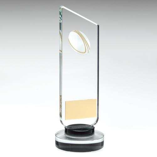 Rugby Glass Clear/Black Column Trophy
