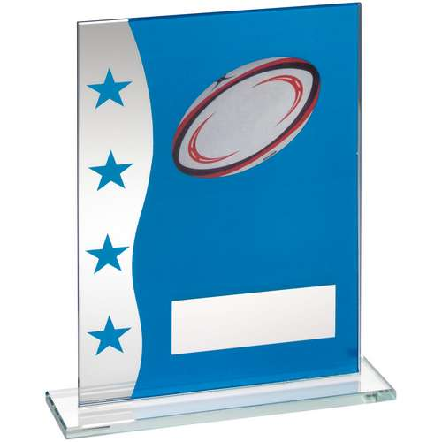 BLUE/SILVER PRINTED GLASS PLAQUE WITH RUGBY BALL IMAGE TROPHY -