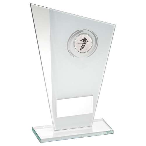 WHITE/SILVER PRINTED GLASS PLAQUE WITH RUGBY INSERT TROPHY - 8in