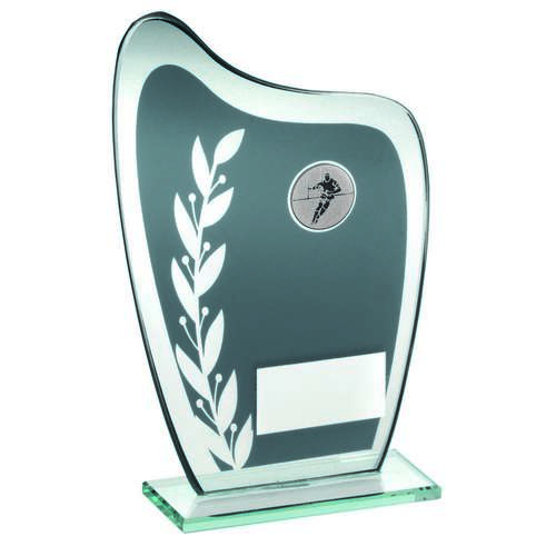 GREY/SILVER GLASS PLAQUE WITH RUGBY INSERT TROPHY - 7.25in