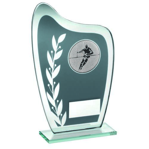 GREY/SILVER GLASS PLAQUE WITH RUGBY INSERT TROPHY - 6.5in