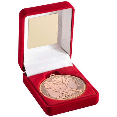 RED VELVET BOX+MEDAL RUGBY TROPHY - BRONZE 3.5in