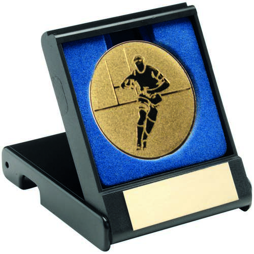 BLACK PLASTIC BOX WITH RUGBY INSERT TROPHY - GOLD 3.5in