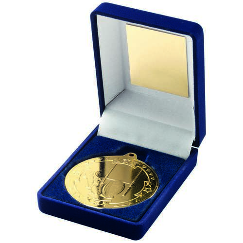 BLUE VELVET BOX+MEDAL RUGBY TROPHY - GOLD 3.5in