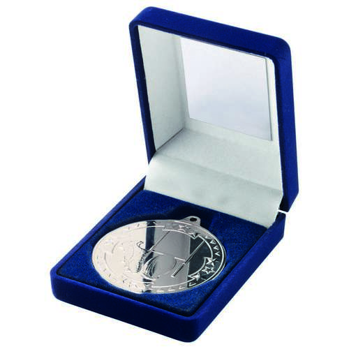 BLUE VELVET BOX+MEDAL RUGBY TROPHY - SILVER 3.5in