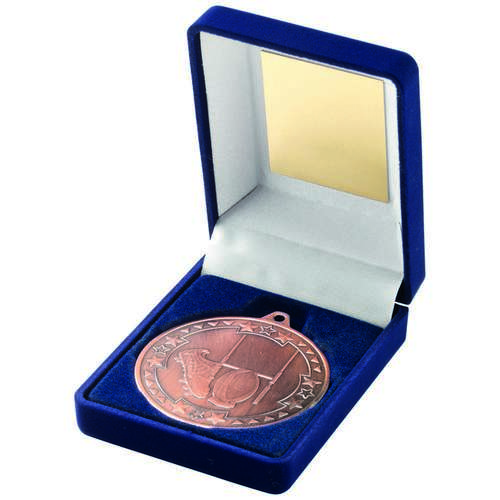 BLUE VELVET BOX+MEDAL RUGBY TROPHY - BRONZE 3.5in