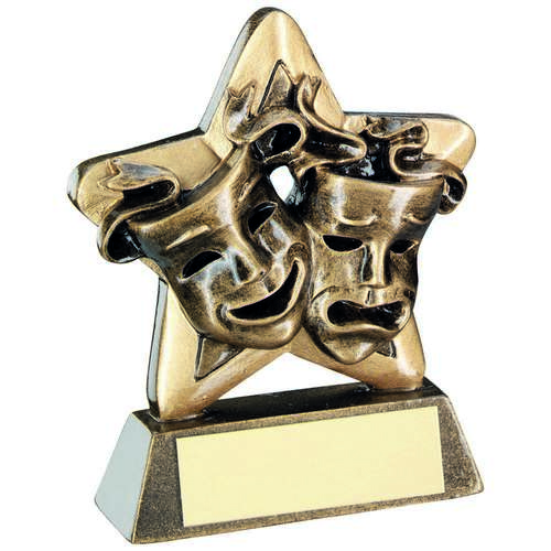 BRZ/GOLD DRAMA MASKS MINI STAR TROPHY - 3.75in