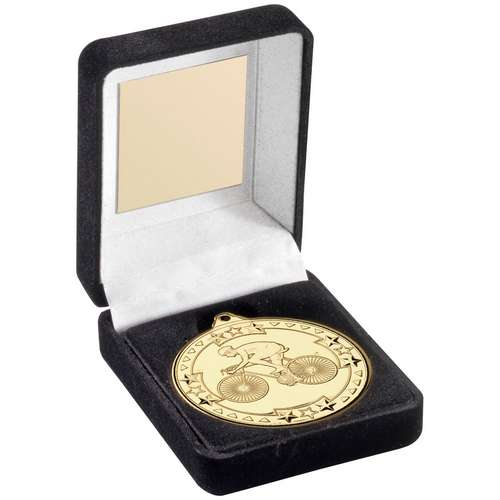 BLACK VELVET MEDAL BOX AND 50mm MEDAL CYCLING TROPHY - BRONZE -