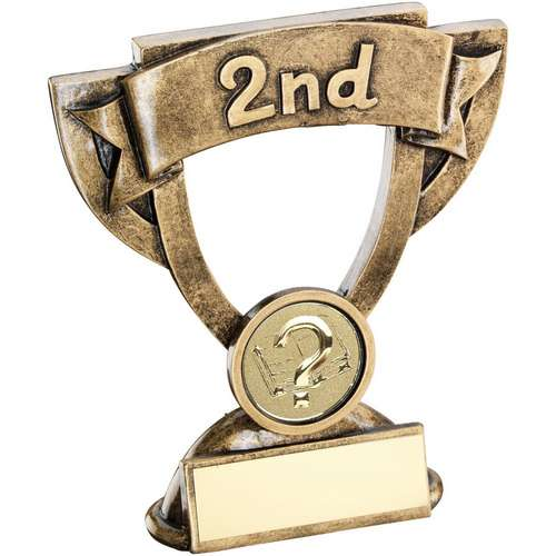 GOLD MINI CUP WITH QUIZ INSERT TROPHY - 2ND - 4.25in
