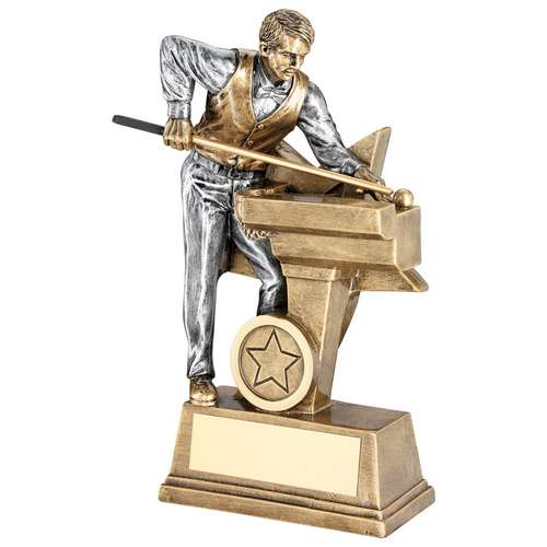 BRZ/PEW MALE POOL/SNOOKER FIGURE WITH STAR BACKING TROPHY (1in C