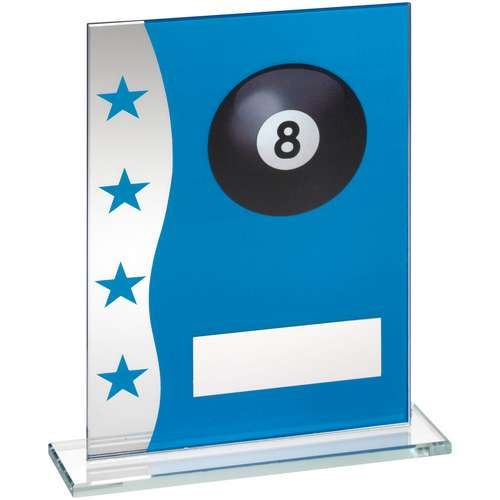 BLUE/SILVER PRINTED GLASS PLAQUE WITH POOL BALL IMAGE TROPHY - 6