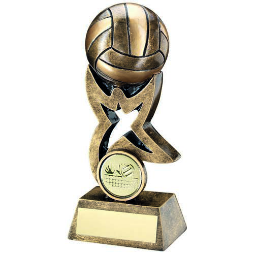 GOLD VOLLEYBALL ON STAR TROPHY RISER TROPHY - 4in