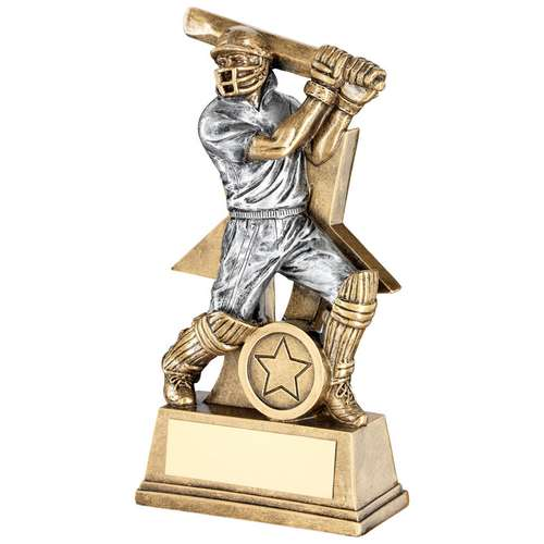 BRZ/PEW CRICKET BATSMAN FIGURE WITH STAR BACKING TROPHY (1in CEN