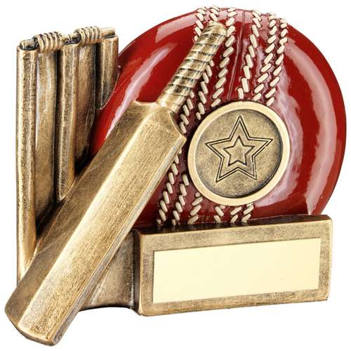 BRZ/RED CRICKET BALL, BAT AND STUMPS CHUNKY FLATBACK TROPHY (1in