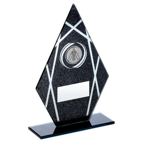 BLACK/SILVER PRINTED GLASS DIAMOND WITH CRICKET INSERT TROPHY -