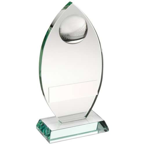 JADE GLASS PLAQUE WITH HALF CRICKET BALL TROPHY - 5.75in