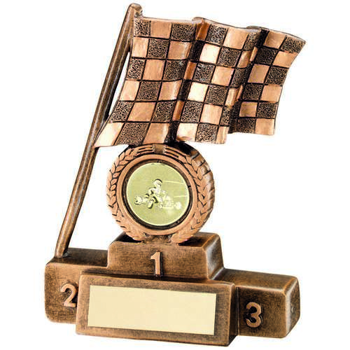 GOLD CHEQUERED FLAG & PODIUM TROPHY - 4""