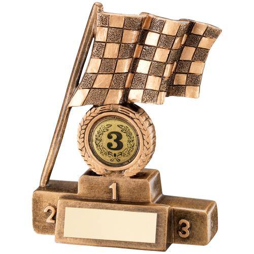 BRZ/GOLD CHEQUERED FLAG + PODIUM TROPHY - (1in CENTRE) 6in