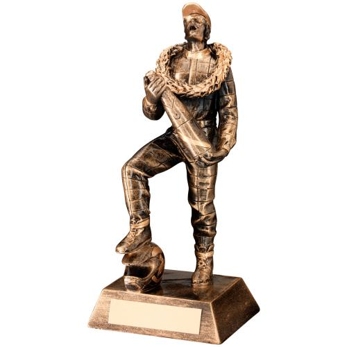BRZ/GOLD RESIN 'CELEBRATING' MOTOR SPORT FIGURE TROPHY - 6.75in