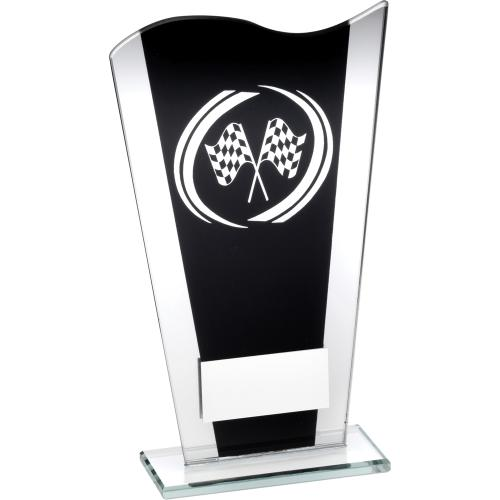 BLACK GLASS PLAQUE WITH SILVER MOTOR SPORT SWIRL 6.5""