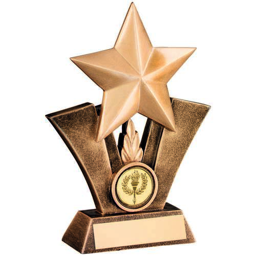 GOLD STAR ACHIEVEMENT RESIN TROPHY - 6.25in