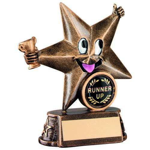 KIDS GOLD RESIN 'COMIC STAR' FIGURE TROPHY - 4.5in