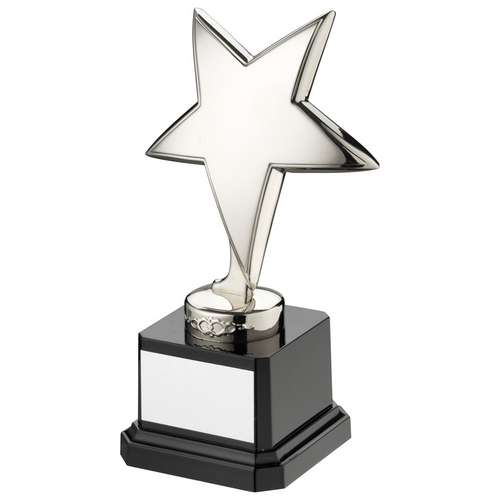 GOLD METAL STAR ON BLACK PLASTIC BASE - 6.25in
