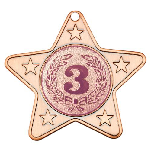 Star Shaped Medal - Bronze (1in Centre) 2in