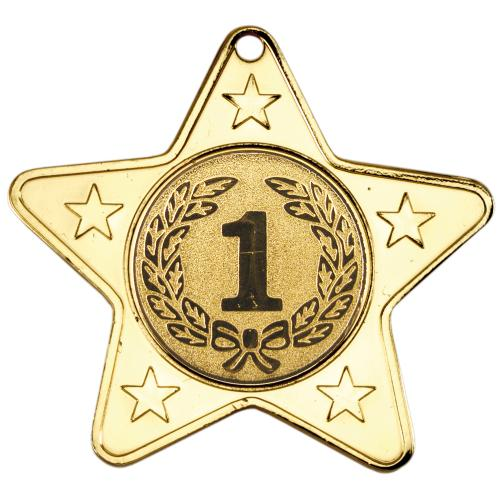 Star Shaped Medal - Gold (1in Centre) 2in