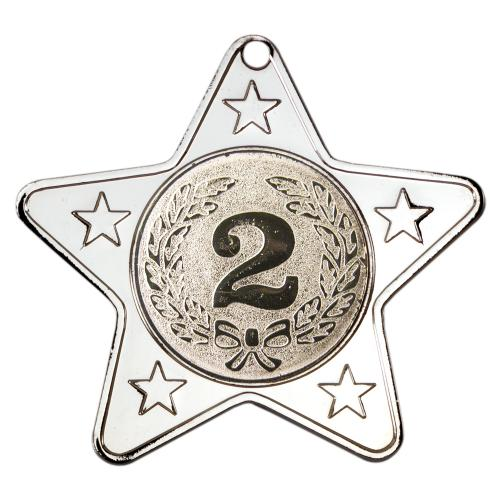 Star Shaped Medal - Silver (1in Centre) 2in