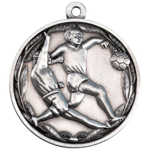 Double Footballer Medal - Antique Silver 2in