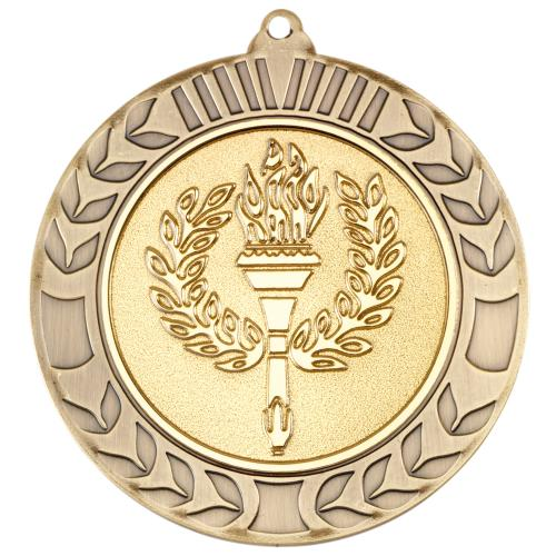 Wreath Medal - Antique Gold (2in Centre) 2.75in