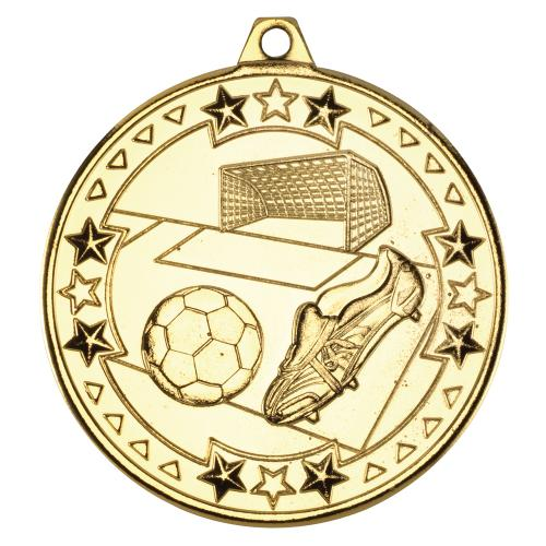 Football \'Tri Star\' Medal - Gold 2in