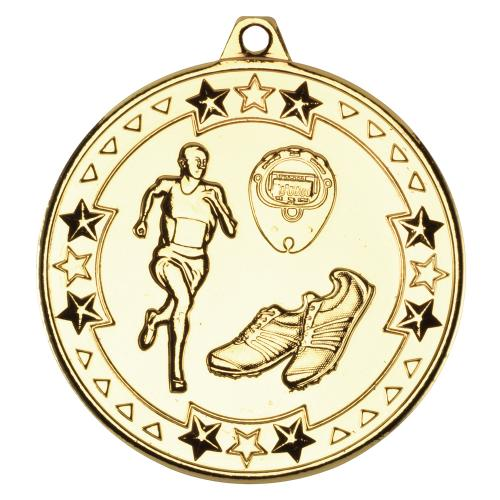 Running 'Tri Star' Medal - Gold 2in