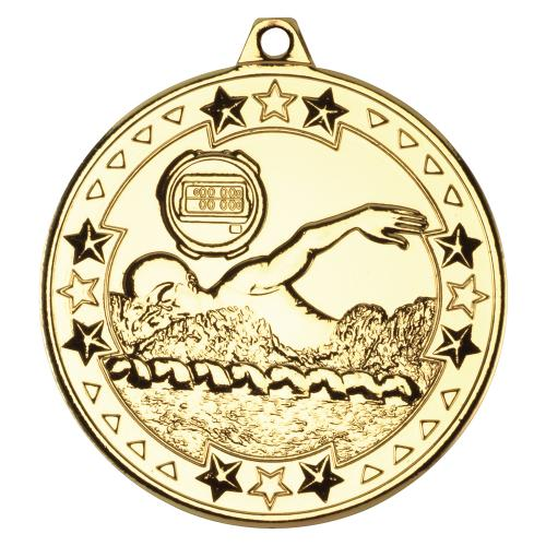 Swimming 'Tri Star' Medal - Gold 2in